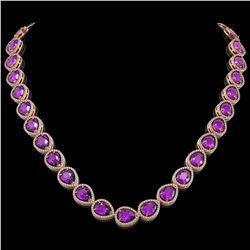 43.2 CTW Amethyst & Diamond Halo Necklace 10K Rose Gold - REF-603H3A - 41226