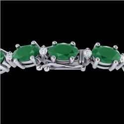 30.8 CTW Emerald & VS/SI Certified Diamond Eternity Bracelet 10K White Gold - REF-214W5F - 29450