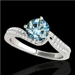 1.2 CTW Si Certified Fancy Blue Diamond Bypass Solitaire Ring 10K White Gold - REF-161X8T - 35111