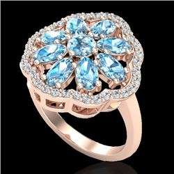 3 CTW Sky Blue Topaz & VS/SI Diamond Cluster Halo Ring 10K Rose Gold - REF-52M2H - 20773