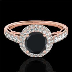 1.65 CTW Certified VS Black Diamond Solitaire Halo Ring 10K Rose Gold - REF-86K5W - 33701