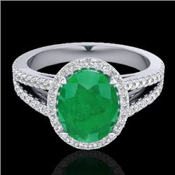 3 CTW Emerald & Micro VS/SI Diamond Halo Solitaire Ring 18K White Gold - REF-83N6Y - 20938