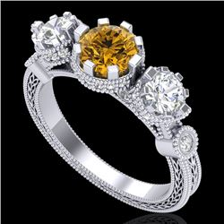 1.75 CTW Intense Fancy Yellow Diamond Art Deco 3 Stone Ring 18K White Gold - REF-227Y3K - 37882
