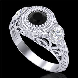 1.06 CTW Fancy Black Diamond Solitaire Art Deco 3 Stone Ring 18K White Gold - REF-123M6H - 37492
