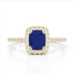 1.25 CTW Sapphire & Micro Pave VS/SI Diamond Halo Ring 10K Yellow Gold - REF-34F2N - 22911