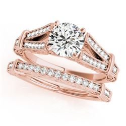 0.91 CTW Certified VS/SI Diamond Solitaire 2Pc Wedding Set Antique 14K Rose Gold - REF-148X5T - 3146