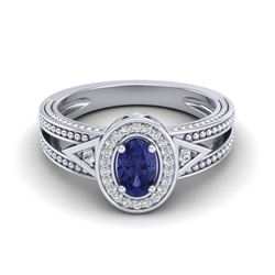 0.58 CTW Tanzanite & VS/SI Diamond Designer Solitaire Halo Ring 10K White Gold - REF-27F6N - 20844