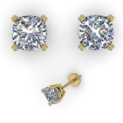1.00 CTW Cushion Cut VS/SI Diamond Stud Designer Earrings 18K Yellow Gold - REF-180H2A - 32287
