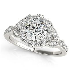1.5 CTW Certified VS/SI Diamond Solitaire Halo Ring 18K White Gold - REF-387X3T - 26536