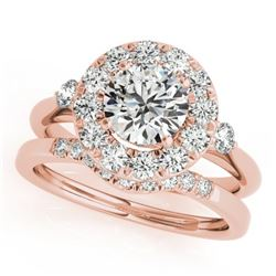 1.62 CTW Certified VS/SI Diamond 2Pc Wedding Set Solitaire Halo 14K Rose Gold - REF-400W4F - 30766