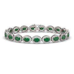 15.2 CTW Emerald & Diamond Halo Bracelet 10K White Gold - REF-255A3X - 40451
