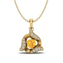 0.40 CTW Citrine & Micro Pave VS/SI Diamond Halo Necklace 18K Yellow Gold - REF-32Y9K - 20010