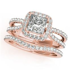 1.71 CTW Certified VS/SI Princess Diamond 2Pc Set Solitaire Halo 14K Rose Gold - REF-446N5Y - 31344