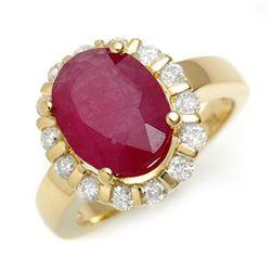 4.65 CTW Ruby & Diamond Ring 10K Yellow Gold - REF-75F8N - 11260