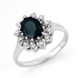 2.04 CTW Blue Sapphire & Diamond Ring 18K White Gold - REF-43K3W - 13070