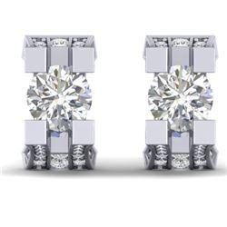 2.25 CTW Certified VS/SI Diamond Art Deco Stud Micro Earrings 14K White Gold - REF-233K5W - 30288