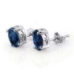3.0 CTW Blue Sapphire Earrings 18K White Gold - REF-28A9X - 11317