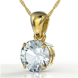 2 CTW Sky Blue Topaz Designer Inspired Solitaire Necklace 18K Yellow Gold - REF-24T9M - 22047