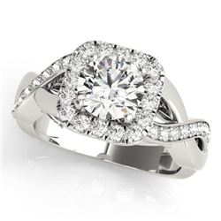 2 CTW Certified VS/SI Diamond Solitaire Halo Ring 18K White Gold - REF-548X2T - 26194