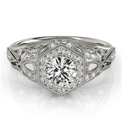 0.9 CTW Certified VS/SI Diamond Solitaire Halo Ring 18K White Gold - REF-145X5T - 26862