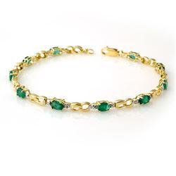2.76 CTW Emerald & Diamond Bracelet 10K Yellow Gold - REF-43T6M - 14509