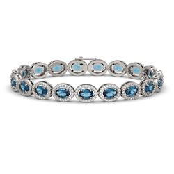 14.82 CTW London Topaz & Diamond Halo Bracelet 10K White Gold - REF-232F5N - 40487