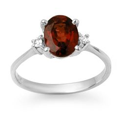 1.54 CTW Garnet & Diamond Ring 10K White Gold - REF-22W2F - 12466