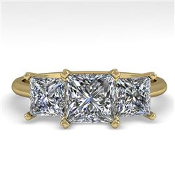 2.0 CTW Princess VS/SI Diamond 3 Stone Designer Ring 14K Yellow Gold - REF-395T8M - 38501