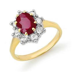 2.35 CTW Ruby & Diamond Ring 10K Yellow Gold - REF-70M9H - 13633