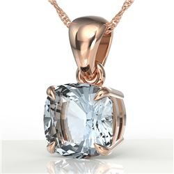 1.50 CTW Cushion Cut Sky Blue Topaz Designer Solitaire Necklace 14K Rose Gold - REF-19M5H - 21965