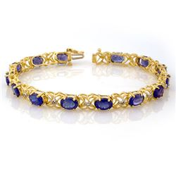 12.05 CTW Tanzanite & Diamond Bracelet 10K Yellow Gold - REF-94T4M - 10904