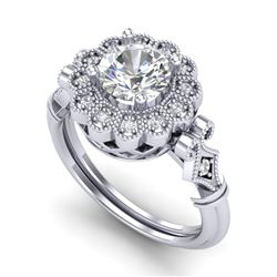 1.2 CTW VS/SI Diamond Solitaire Art Deco Ring 18K White Gold - REF-345X2T - 37049