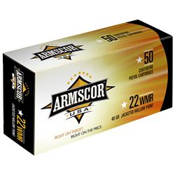 400 Rounds 22MAG, Armscor, 22WMR, 40 Grain, Jacketed Hollow Point, ARMFAC22M1N