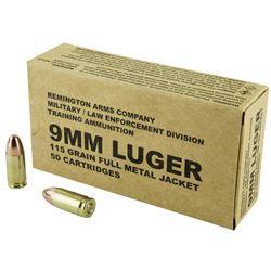 500 Rounds: Remington, Pistol, 9MM, 115 Grain, Full Metal Jacket, REMB9MM3