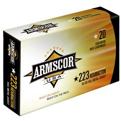 100 Rounds: Armscor, 223 Rem, 55 Grain, Full Metal Jacket ARMFAC2231N