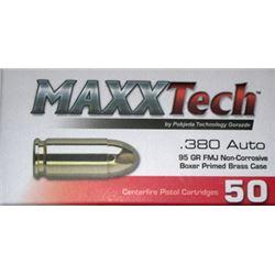 200 Rounds: MAXXTECH 380ACP 95GR FMJ  Brass PTGB380B