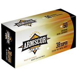 38SUPER 100 Rounds: Armscor, 38 Super, 125 Grain, Full Metal Jacket armfac38super1n