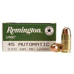 250 Rounds Remington Arms .45ACP,UMC 45AUTO 230GR MC 250RDS reml45ap4a