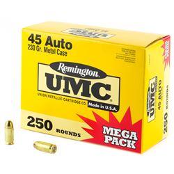 Remington, UMC, 45ACP, 230 Grain, Full Metal Jacket, Mega Pack, 250 Rounds