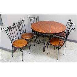 IRON WOOD DINETTE TABLE WITH 5 MATCHING CHAIRS