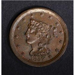 1857 HALF CENT, BEAUTIFUL ORIGINAL UNC