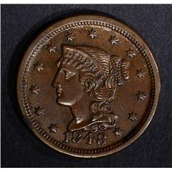 1848 LARGE CENT, CH BU