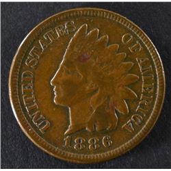 1886 TYPE-2 INDIAN CENT, VF ORIGINAL