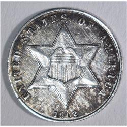 1862 3-CENT SILVER, AU/BU