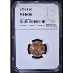 1974-S LINCOLN CENT, NGC MS-66 RED