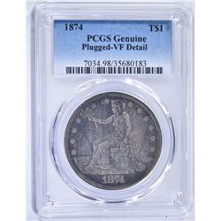 1874 TRADE DOLLAR, PCGS VF DETAIL