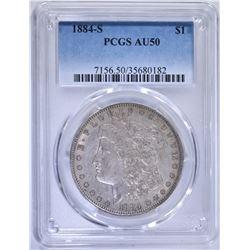 1884-S MORGAN DOLLAR, PCGS AU-50