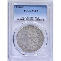 1904-S MORGAN DOLLAR, PCGS AU-50 KEY DATE