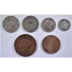 6 COIN LOT: 1851 LARGE CENT,
