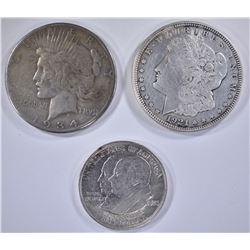 3 COIN LOT: 1921 MORGAN DOLLAR,